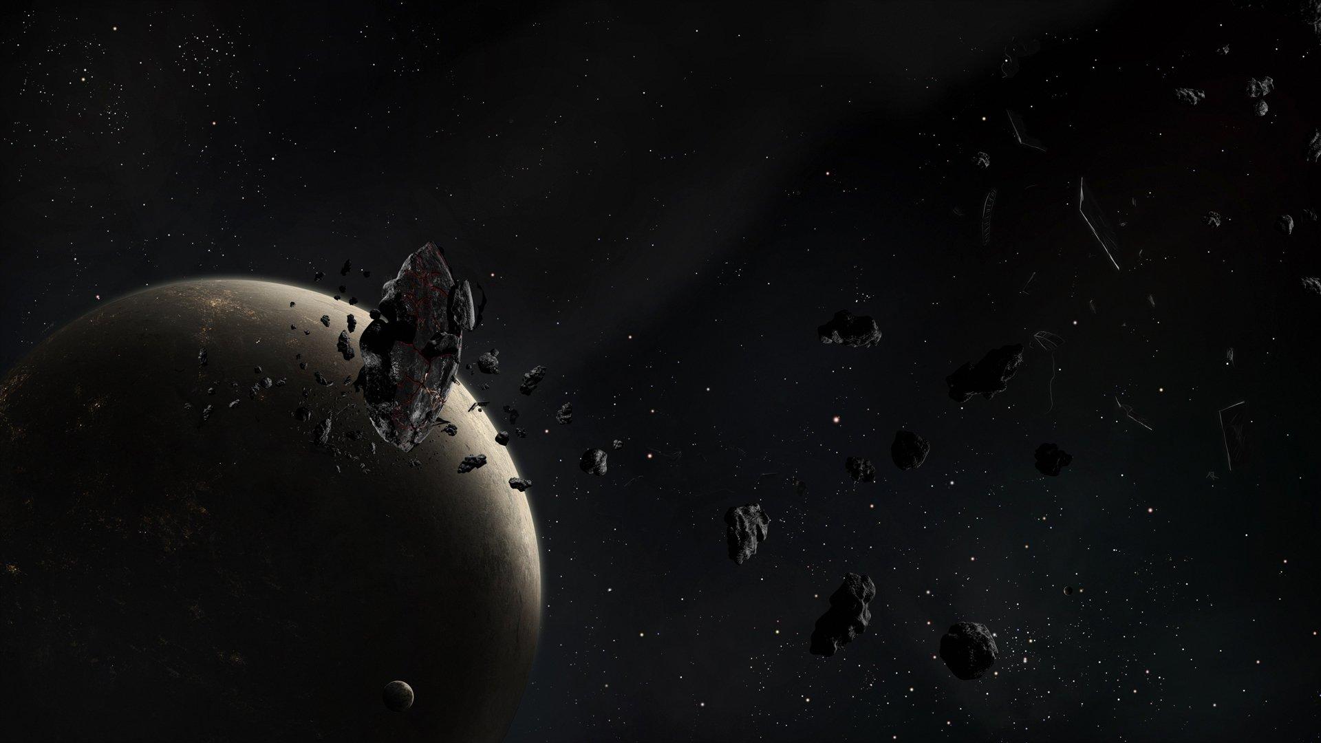 Обои обломки, астероиды, земля. Космос foto 12