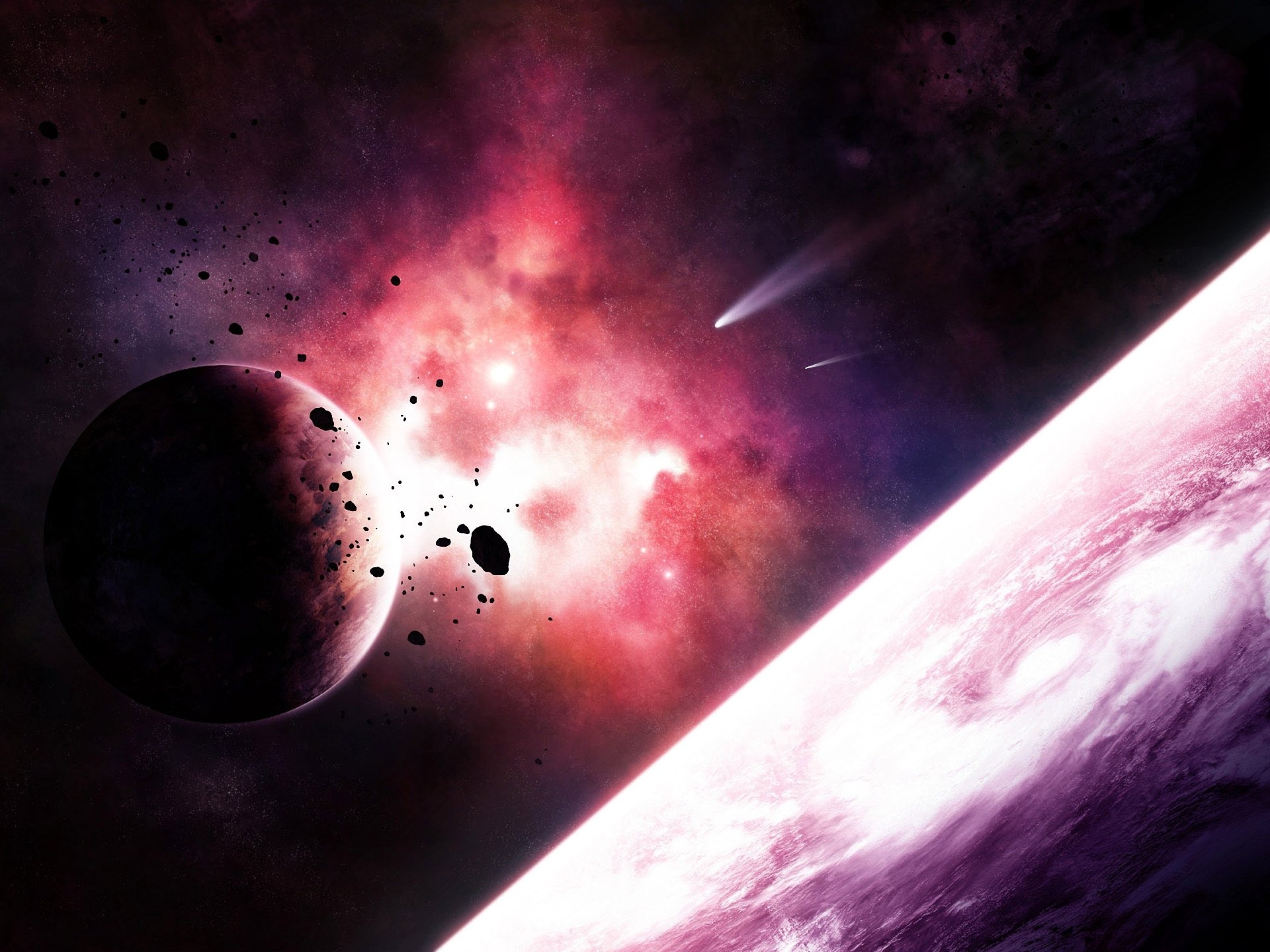 Обои космос метеориты планета картинки на рабочий стол на тему Космос - скачать без смс