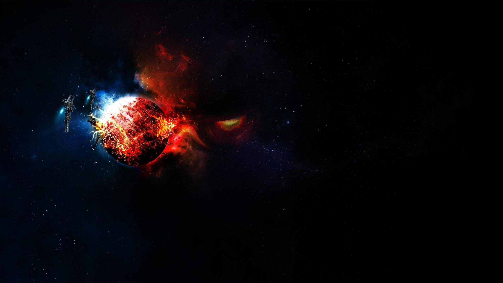 Обои Взрывы на планетах картинки на рабочий стол на тему Космос - скачать без смс