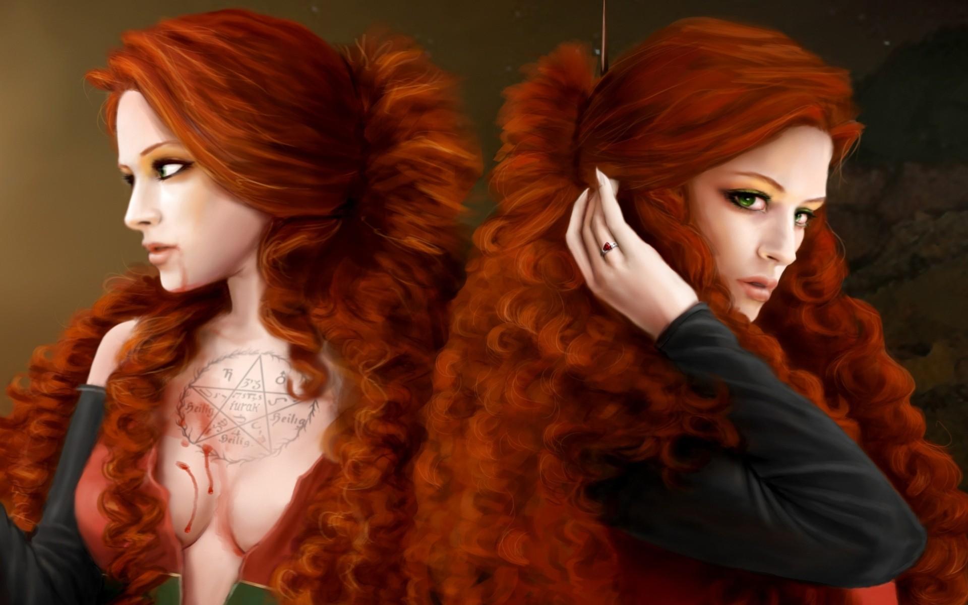 задумчивая девушка с огненно-рыжими волосами  № 1947178 без смс