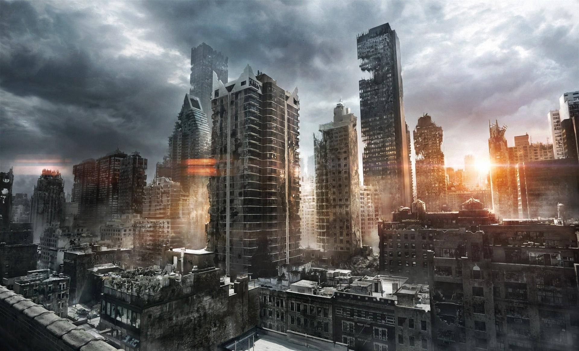 Обои темное небо, разрушенный город, небоскребы. Города foto 8