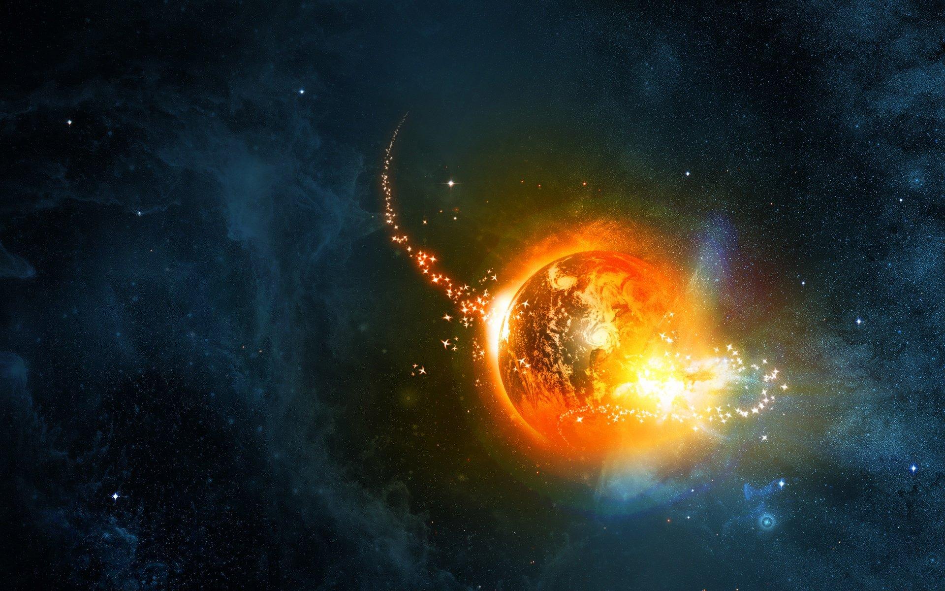 Обои огненная планета картинки на рабочий стол на тему Космос - скачать  № 433766  скачать
