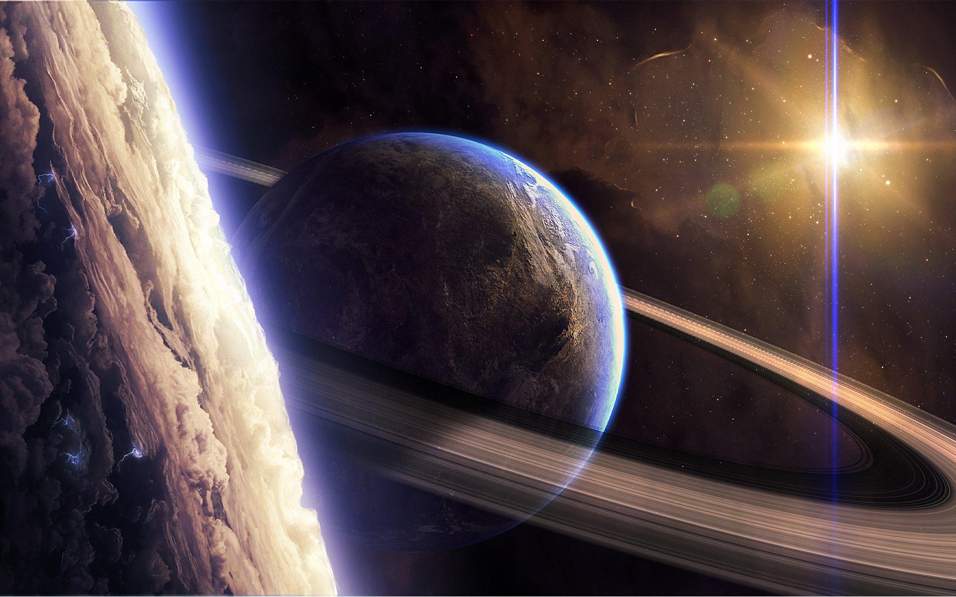 Обои Над планетой картинки на рабочий стол на тему Космос - скачать без смс