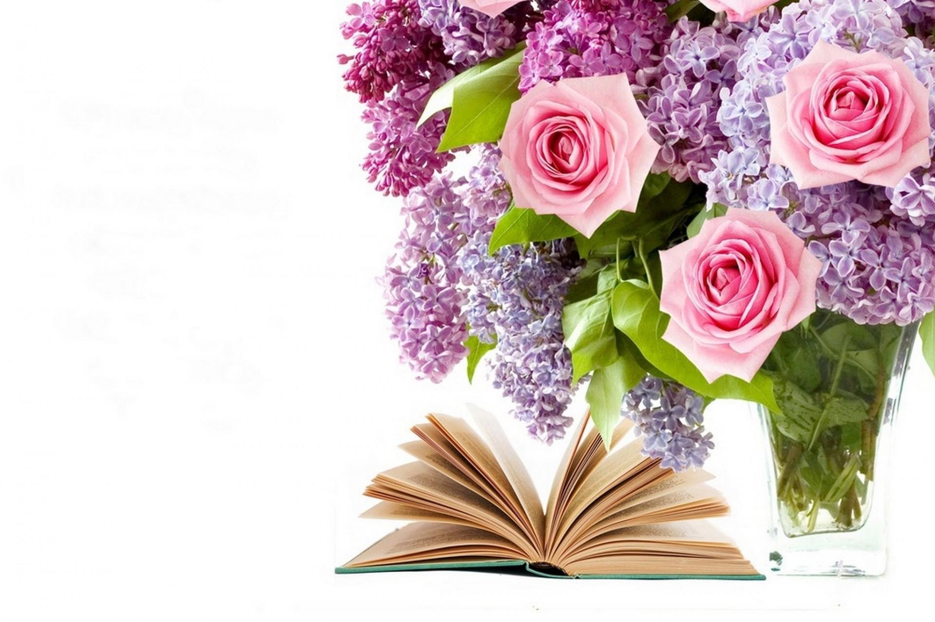Открытка с днем учителя цветы на книге