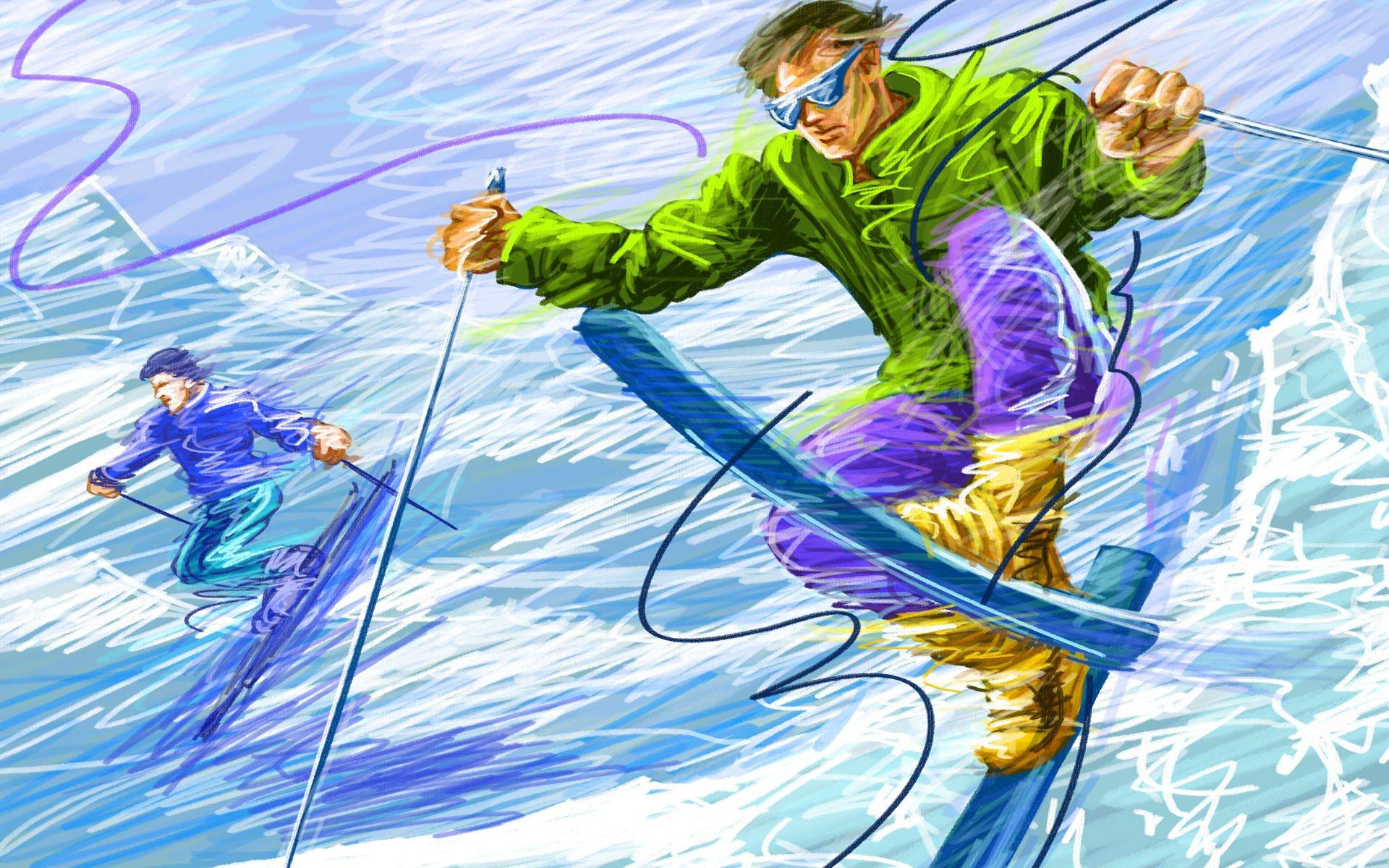квартиру обои на тему лыжи прочным