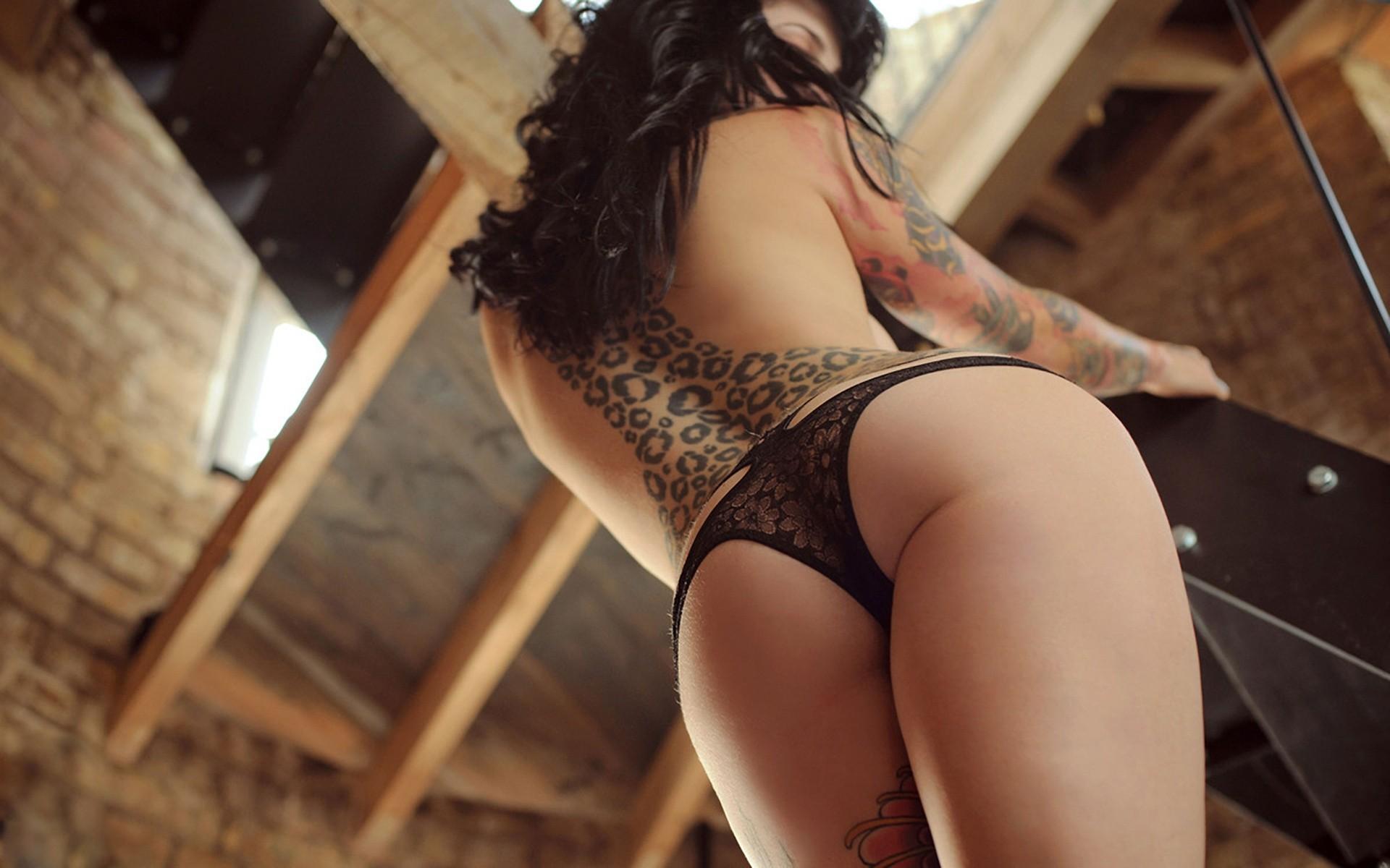 Sexy butt tattoos, thong beach nude