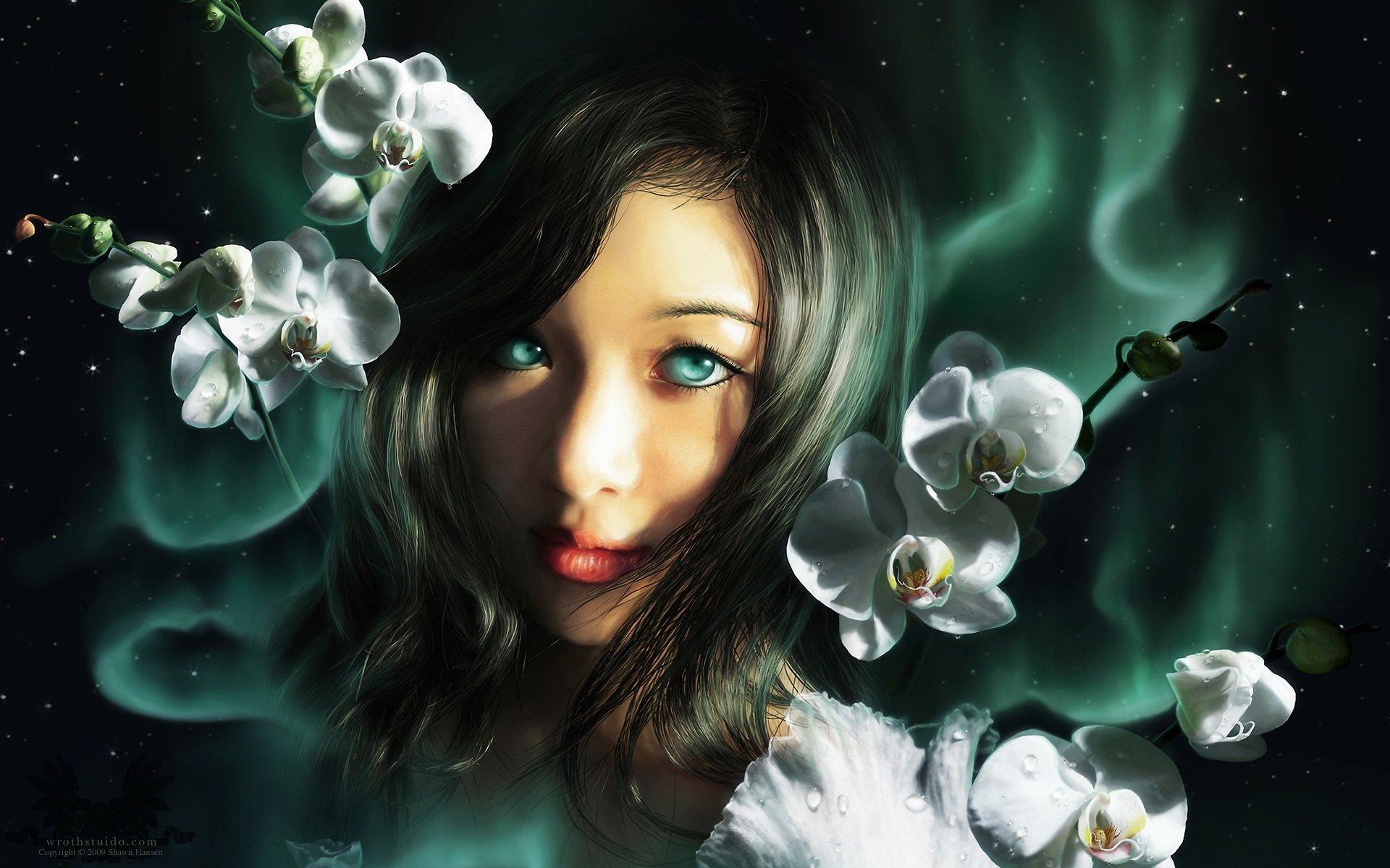 Девочка с зелеными темнями  № 176497 без смс