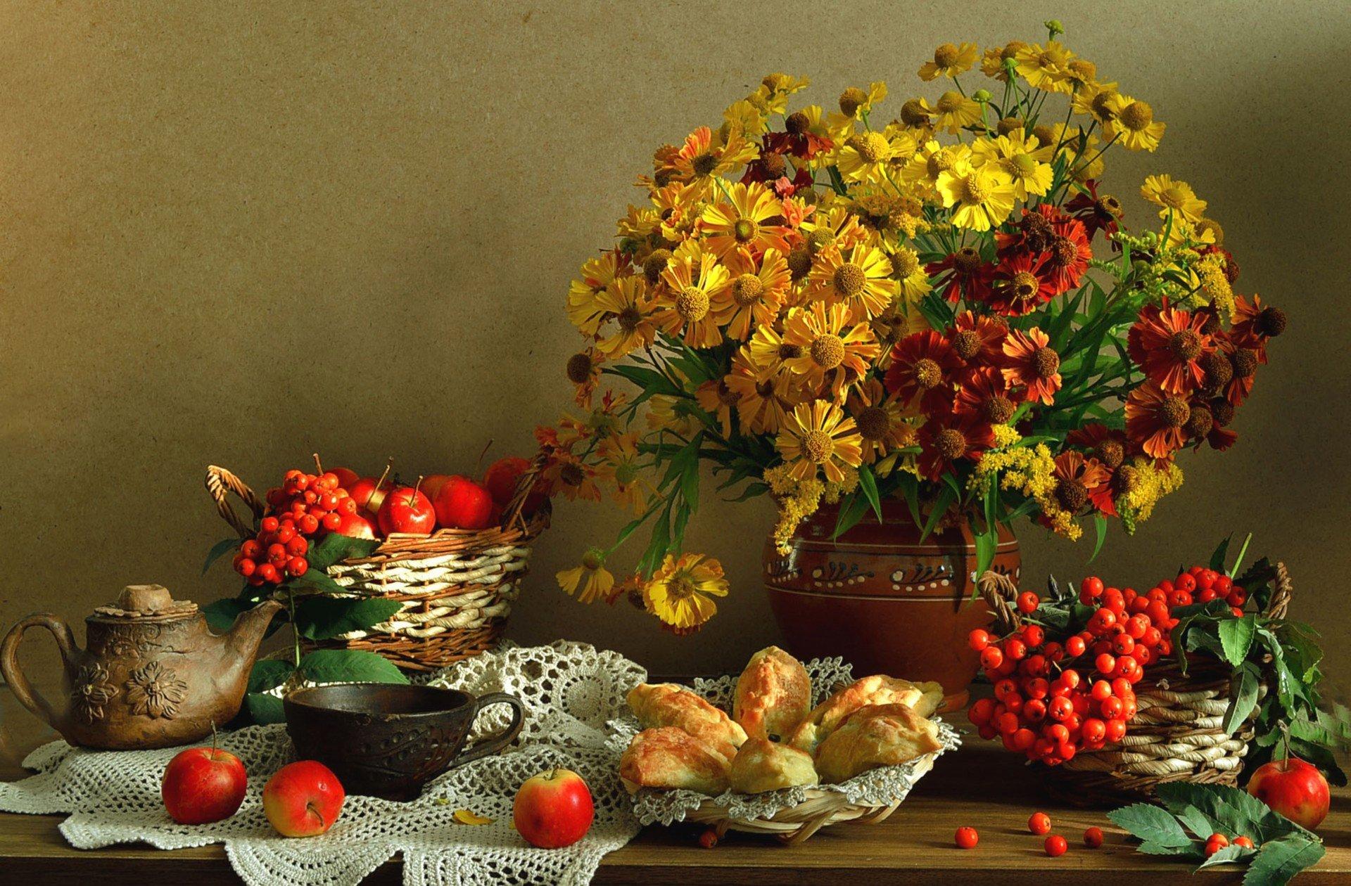 Картинки, красивые открытки с осенними цветами и пейзажами