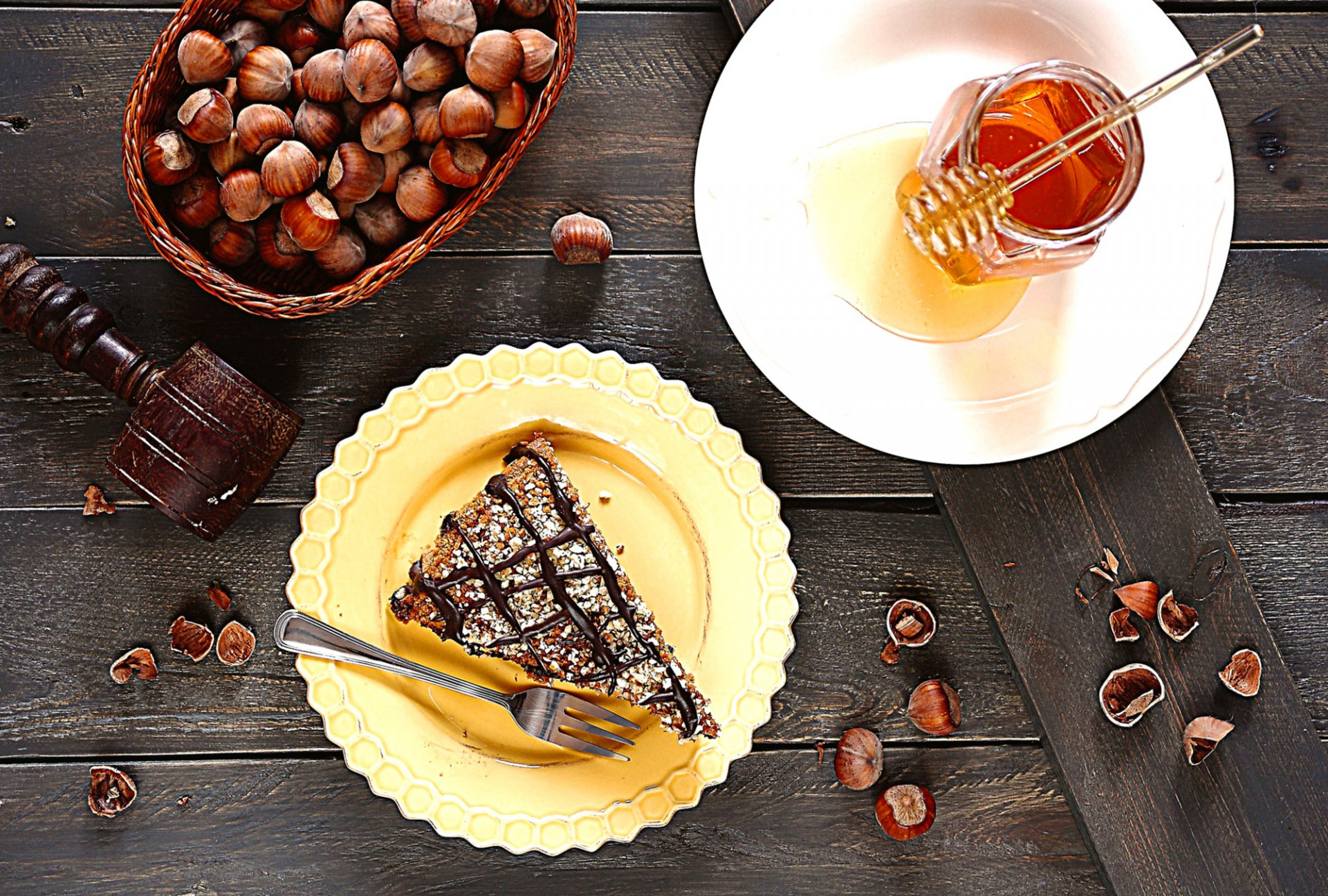Обои пирожное, орехи, шоколад, крем. Еда foto 19