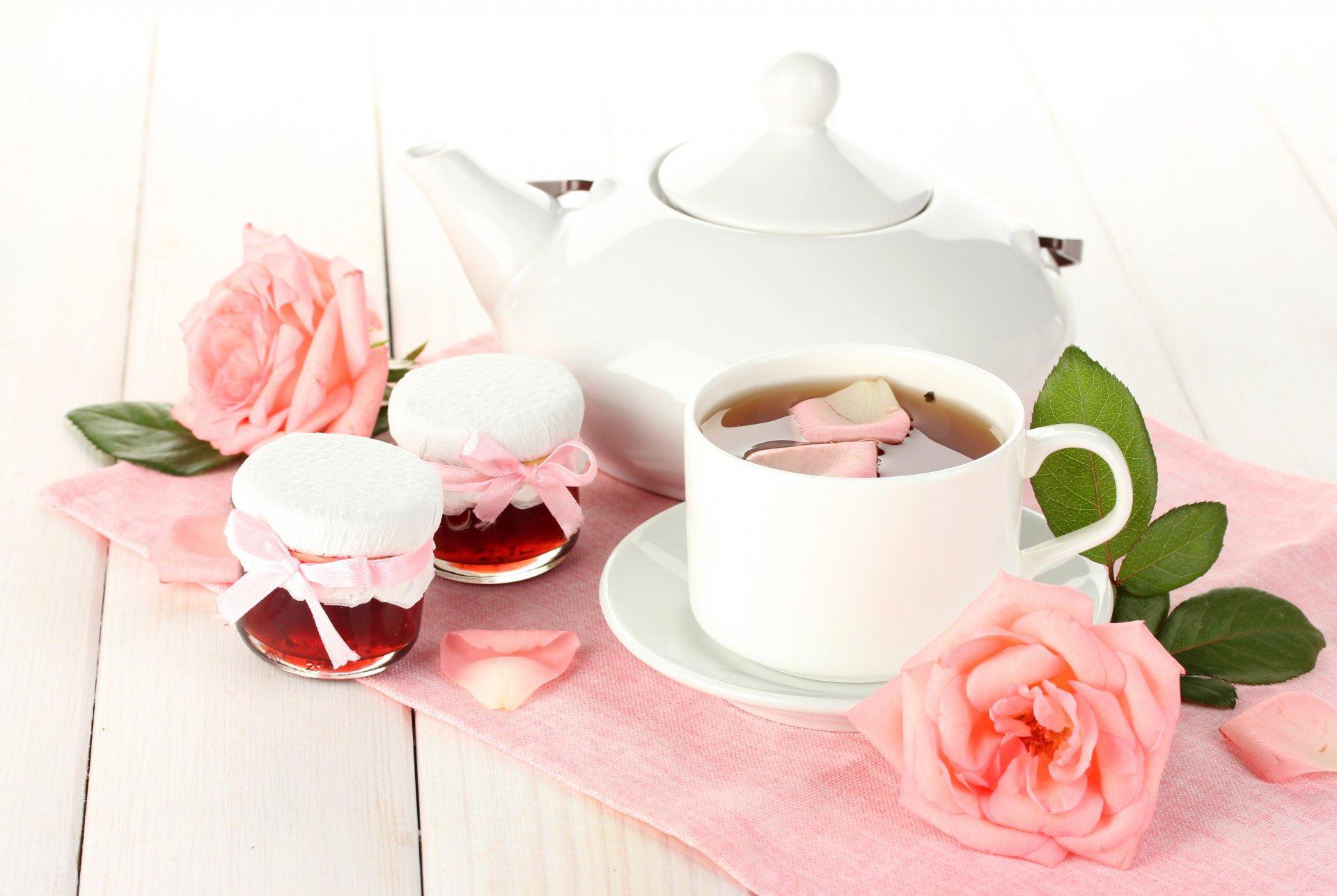 Днем, открытки чай и цветы