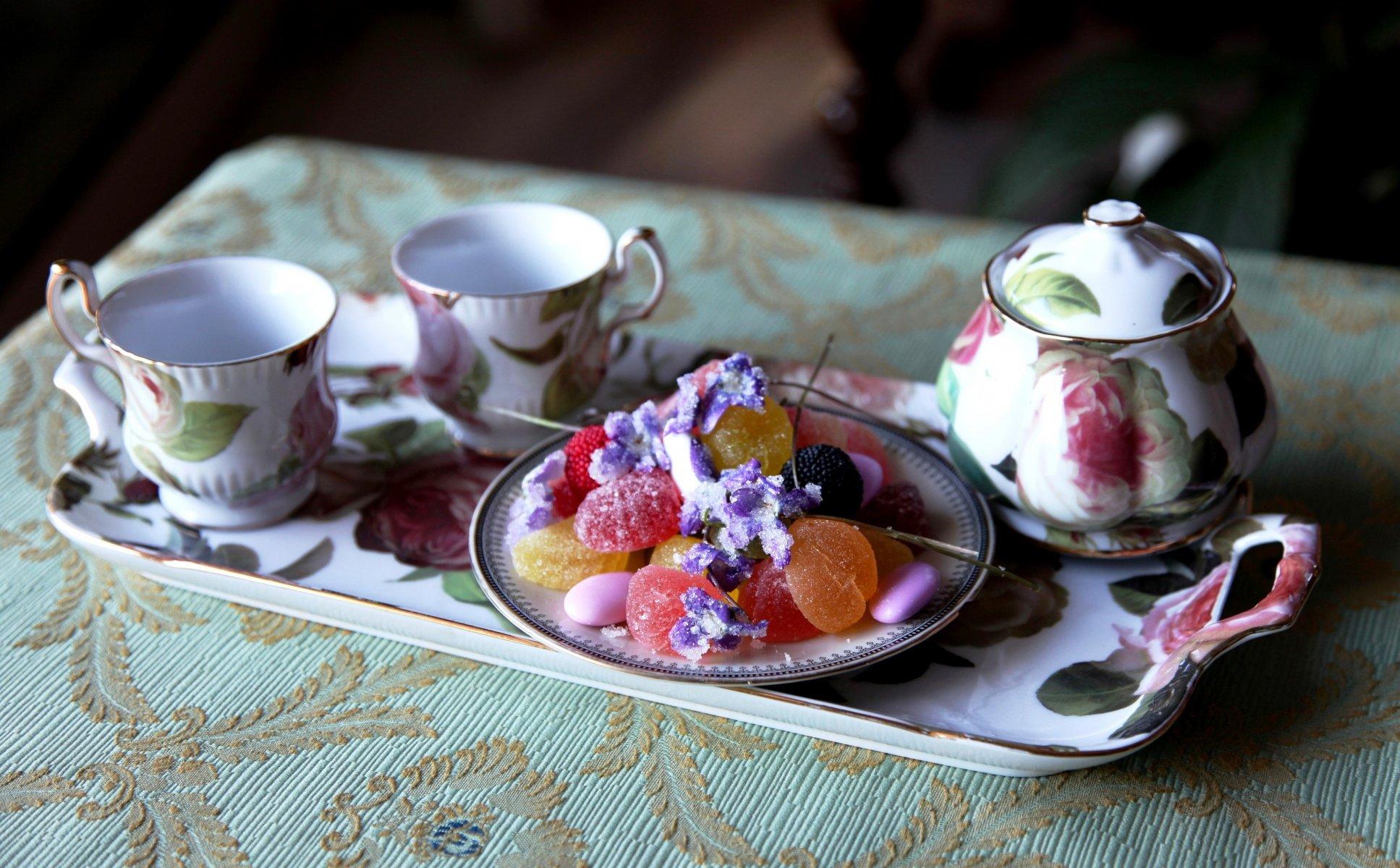 Открытка, открытки утро чайный стол