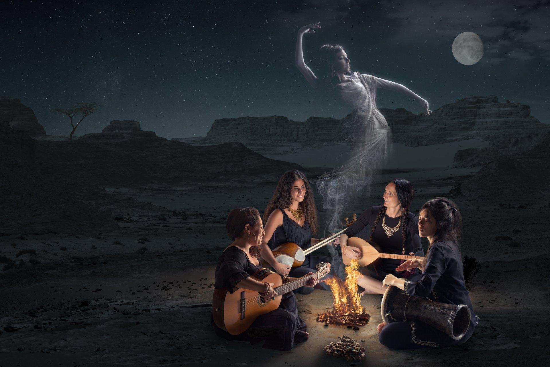 графика девушки костер дух природа graphics girls the fire spirit nature бесплатно