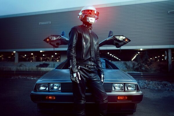 Daft Punk Man music car delorean black silver light Leather led