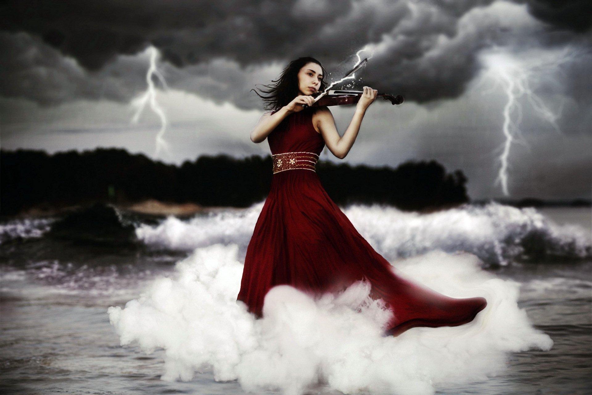 Девушка со скрипкой абстракция  № 2052314  скачать