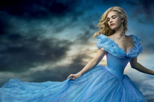 Disnay's CINDERELLA Movie Film 2015 Year Lily James Cinderella Walt Disney Pictures Adventure Drama Family Fantasy Romance Tale Woman Beautiful Girl Lover Blonde Hair Face Lips Eyes Blue Dress Decolle