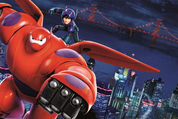 Big Hero 6 Big Hero 6 Six Animation Movie Film 2014 Year Ryan Potter Hiro Hamada Scott Adsit Baymax Walt Disney Pictures Action Adventure Comedy Family MARVEL Young Boy with White Rubber Robot with Re