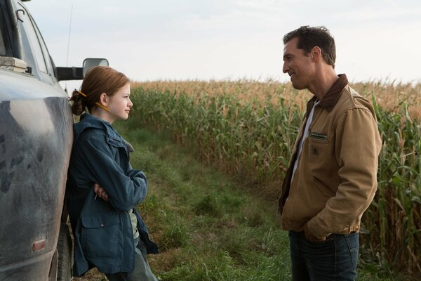 Interstellar Movie Film Matthew McConaughey 2014 Year Mackenzie Foy Murph Legendary Pictures Paramount Pictures Warner Bros. Pictures Adventure Sci-Fi Boards Blackboard Formulas Auburn Hair Green Eyes