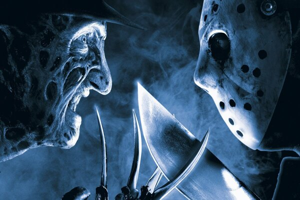 Freddy Vs Jason Freddy Krueger Jason Voorhees A Nightmare on Elm Street Robert Englund 2003 release 2003 Ken Kirzinger burns mask ice hockey mask killers horror movie icons of the 80s hat knives mache