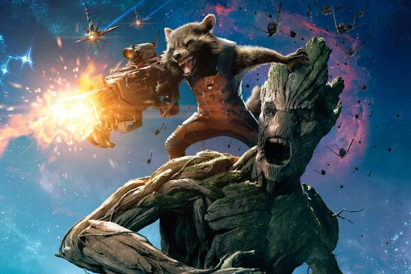 Guardians of the Galaxy Movie Film Groot Rocket Raccoon Marvel Heroes Hero Laser Warriors Fighters Wooden Man Shooting Face Eyes Situation Guns Weapons Animal Space Sky Clouds Planes Battle Planet Bat