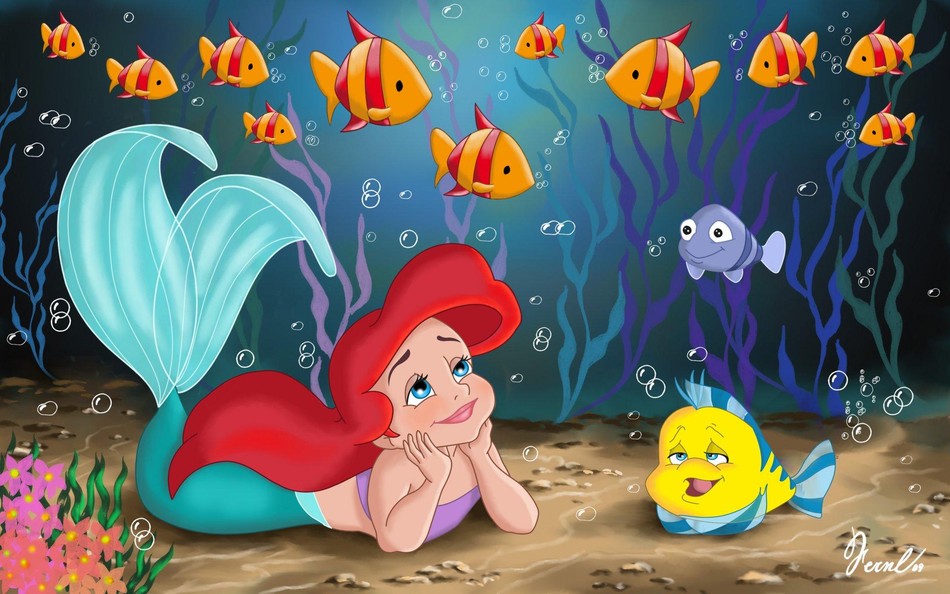 русалочка кино уолт дисней фанарт детство принцесса ариэль море рыба  симпатичный ребенок сказка маленькая русалочка мультфильм русалка прелесть  рыба-луна рыбки водоросли HD обои для ноутбука