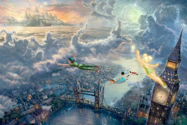 Thomas Kinkade Tinkerbell and Peter Pan fly to Neverland The Disney dreams collection 50-th anniversary Wendy art London Big Ben London bridge sunset sea clouds fairytales fantasy Томас Кинкейд Дисней