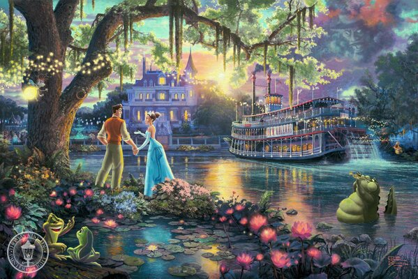 Thomas Kinkade The Princess and the Frog The Disney dreams collection 50-th anniversary art sunshine sunset evening flowers firefly fairytale fantasy Томас Кинкейд Принцесса и Лягушка Дисней арт вечер