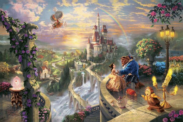 Thomas Kinkade Beauty and the Beast falling in love The Disney dreams collection 50-th anniversary Belle prince art castle sunset rainbow fairytale fantasy love story rose Томас Кинкейд Красавица и Чу