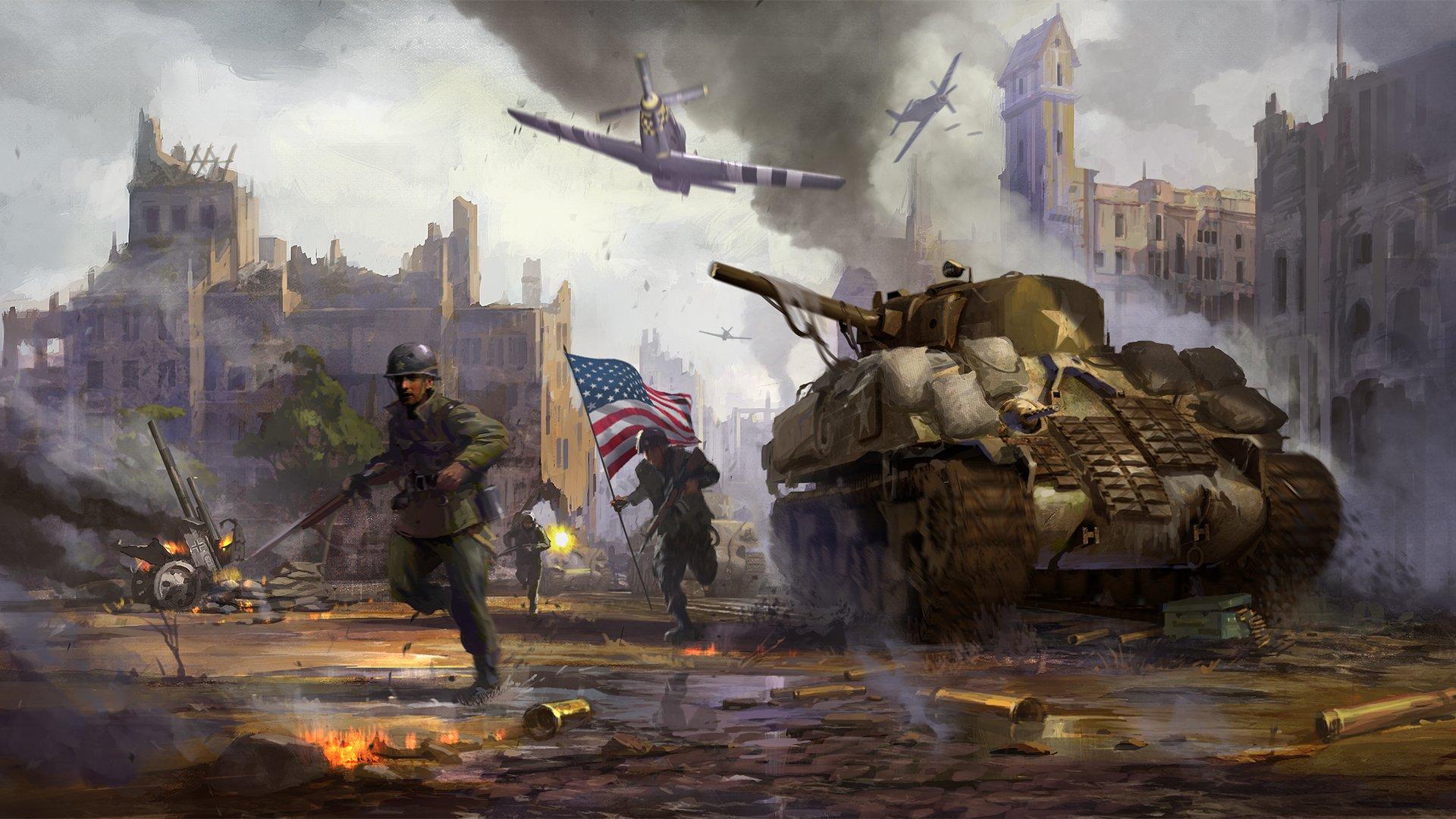 Солдаты с красным знаменем загрузить