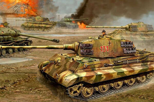 Panzerkampfwagen VI Тигр II Königstiger тяжёлый танк flames of war Tiger II KingTiger is-2. королевский тигр ис-2 война бой рисунок