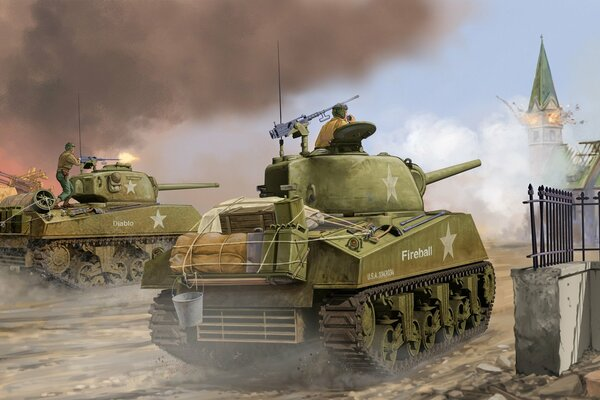 арт танк Sherman M4A3 Late Medium Tank средний танк сражение Flames of War the world war II miniatures game WW2.