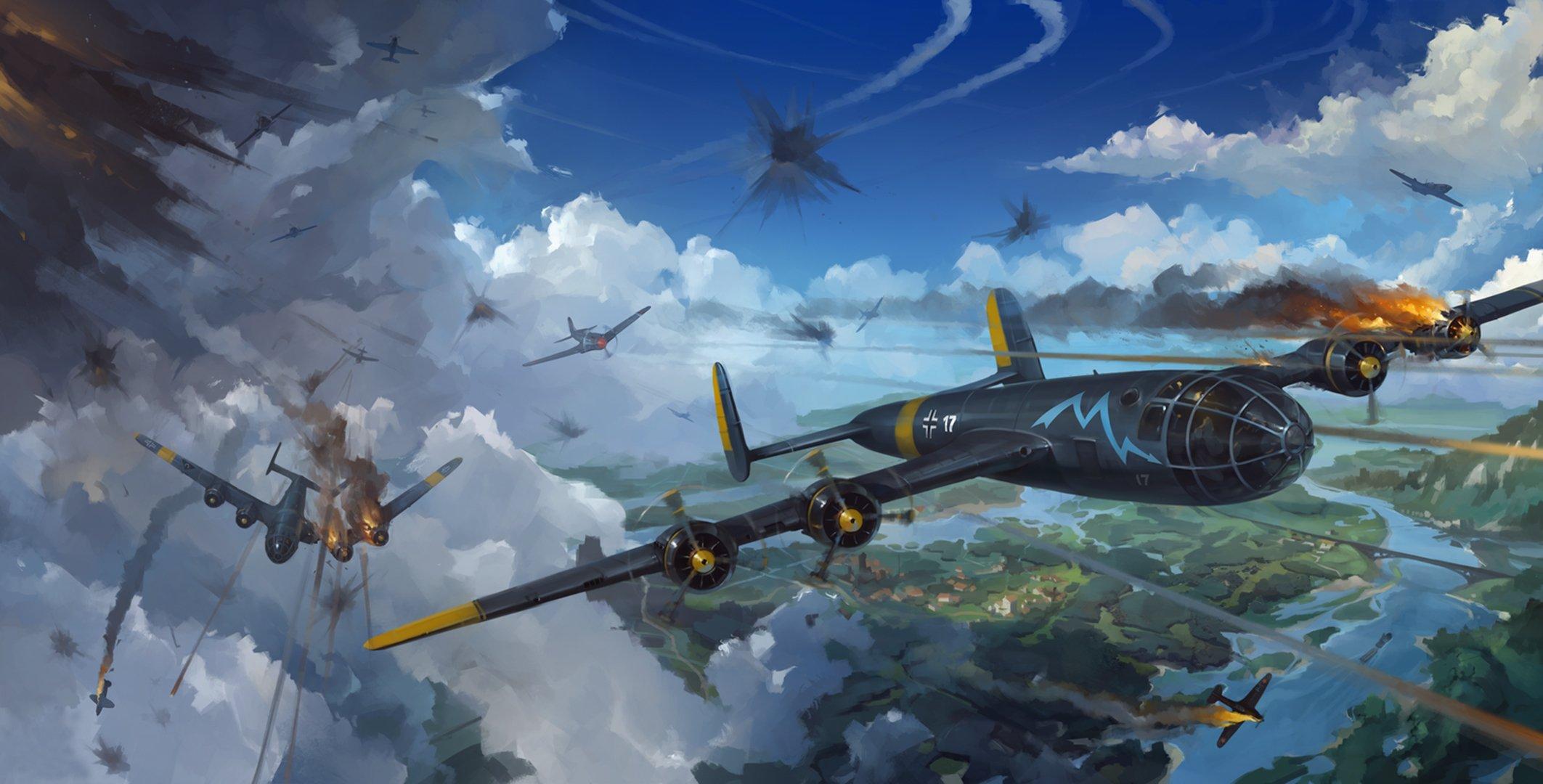 Обои земля, Облака, битва, самолеты, война. Авиация foto 6