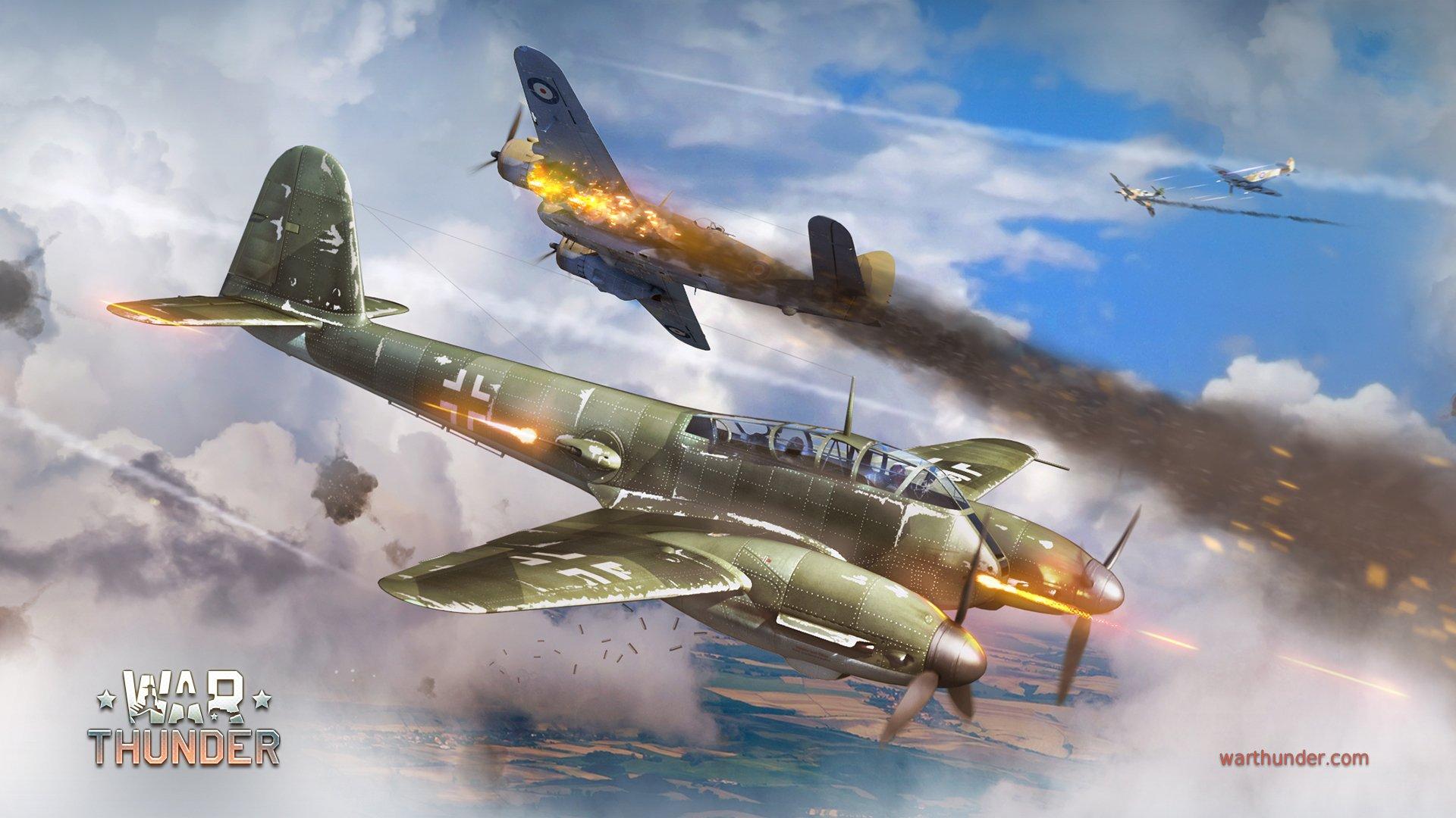 Обои Ме-410, war thunder, Самолёт, истребитель, война, Облака. Игры foto 8