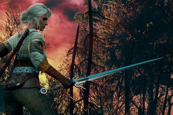 The Witcher 3:Wild Hunt Ведьмак Burning skies Цири