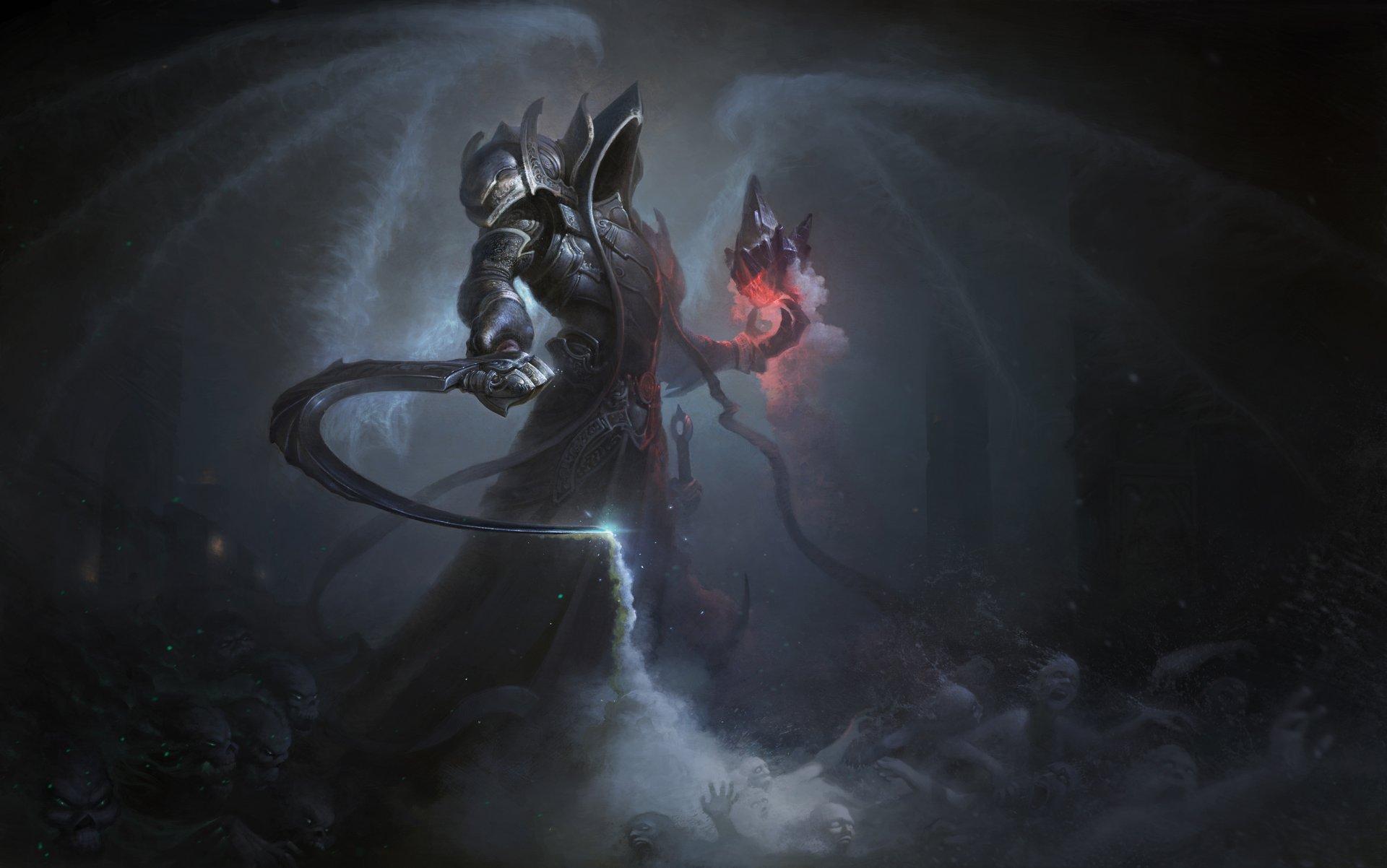 Обои арбалеты, demon hunter, простой фон, доспехи. Игры foto 16