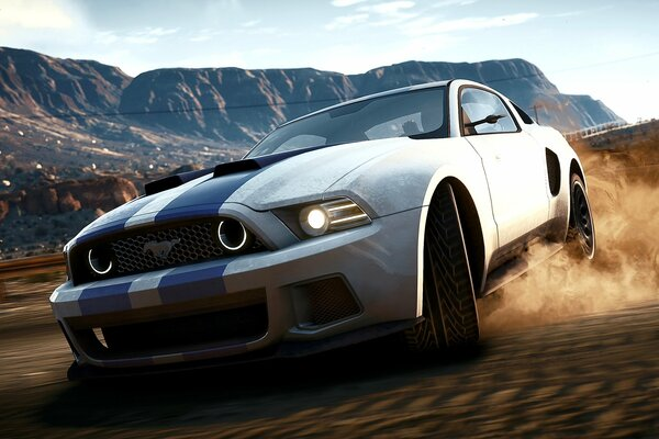 Game NFS Need For Speed Rivals Ford Mustang Shelby Speed Shift Drift Dust Машина Игра Форд Мустанг Шелби Скорость Занос Дрифт Песок