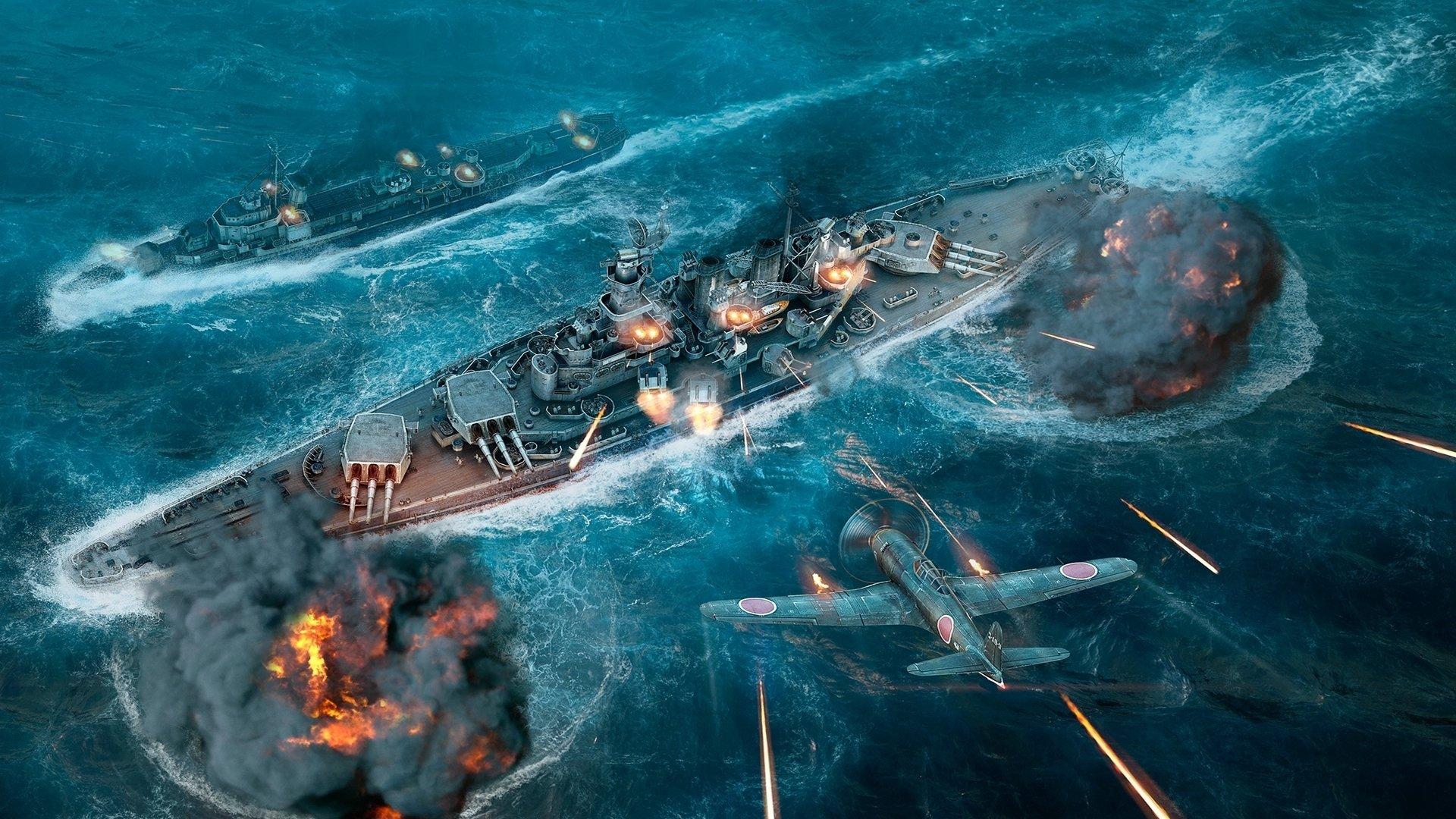 Обои мир кораблей, wows, wargaming net, выстрел, wg, пламя. Игры foto 10