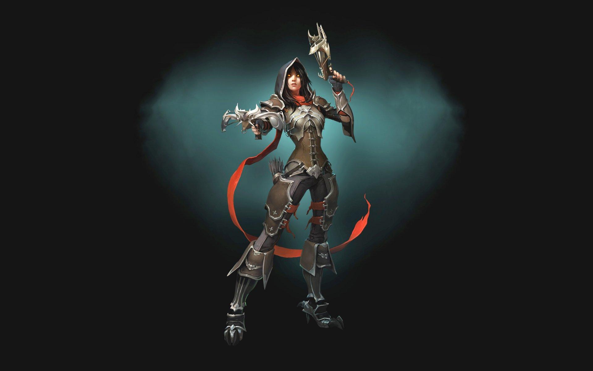 Обои арбалеты, demon hunter, простой фон, доспехи. Игры foto 6