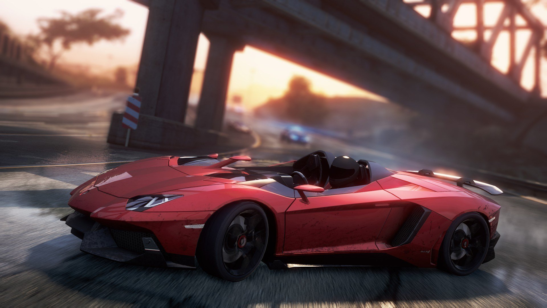 need for speed most wanted 2012 aventador j спорткар дорога гонка занос мост