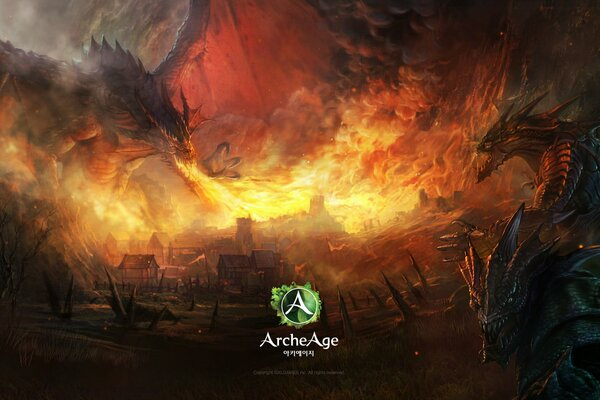 archeage mmorpg online game art creatures dragon fire игра онлайн мморпг арт монстры дракон пламя дома пожар