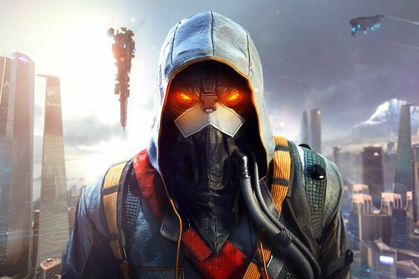killzone : shadow fall killzone: в плену сумрака хелгаст helghast солдат город мегаполис дома небо капюшон маска шланг guerrilla games sony computer entertainment