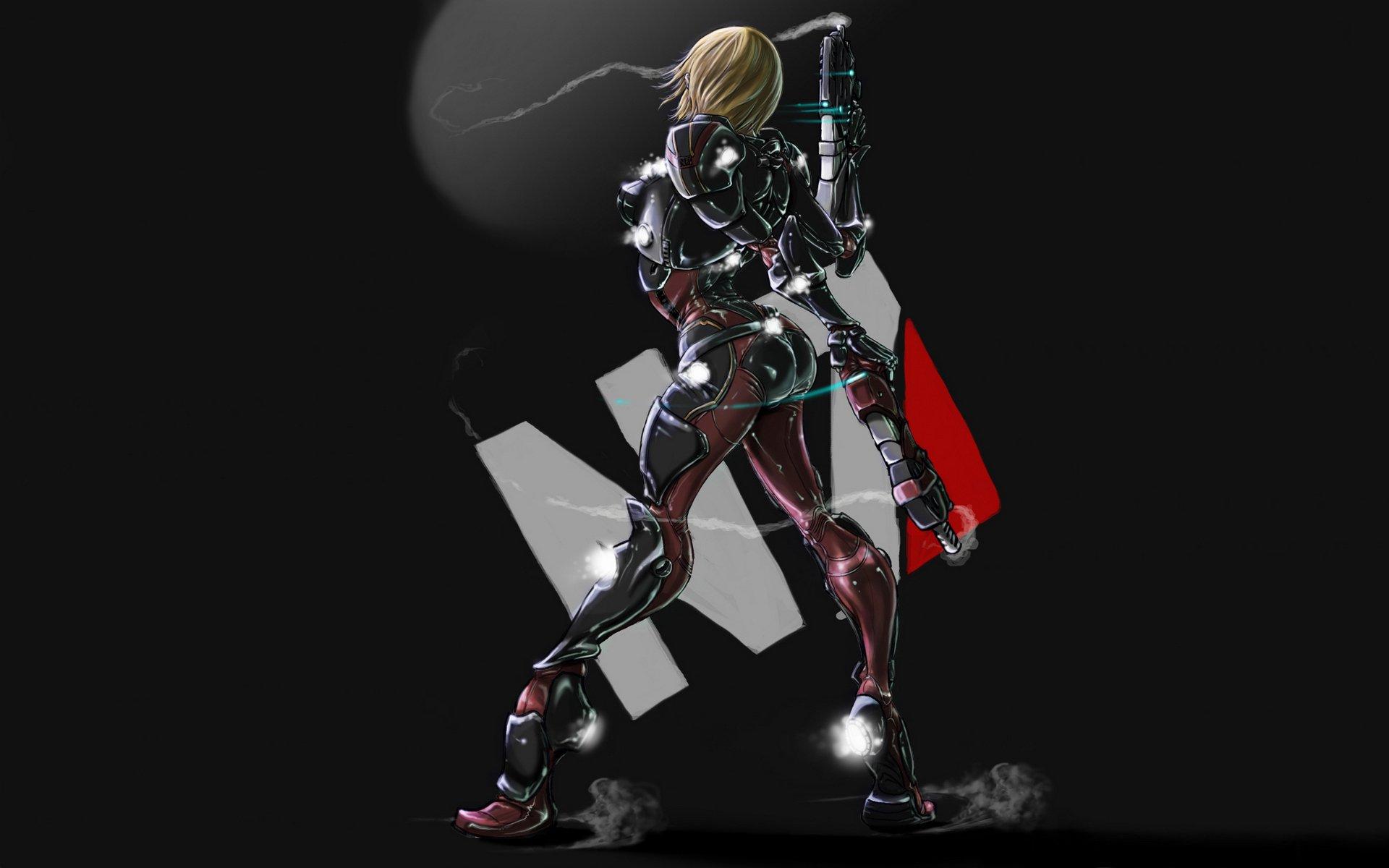 Mass Effect N7 девушка костюм оружие дым простой фон Hd обои
