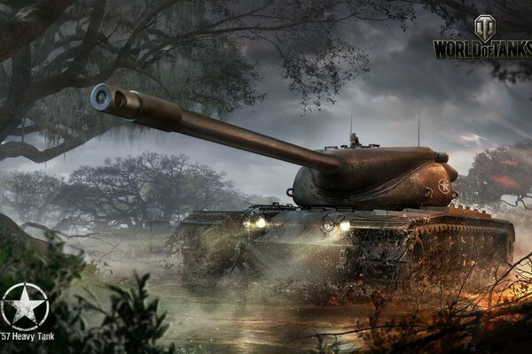 Wargaming Net World of Tanks WoT Мир Танков T57 Heavy Tank Американский Танк США Деревья Туман Огонь Свет Ствол Железо Хижина Облака Вода Гряз Куст Лого Танк Названия Тяжёлый Американский Танк Тяжёлый