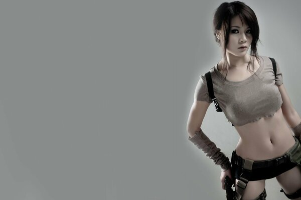 girls cosplay women model tomb raider lara croft game beauty