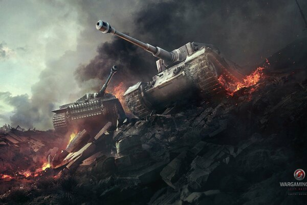 World of tanks WoT мир танков танки Tiger Тигр Tiger(P) Тигр(П) немецкие тяжелые танки пламя дым война