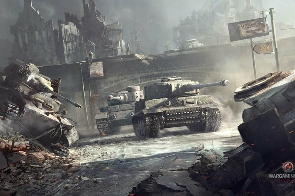World of tanks WoT мир танков танки Tiger Тигр Tiger(P) Тигр(П) немецкие тяжелые танки город дым война
