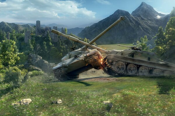 World of tanks WoT мир танков танки Bat Chatillon 25 t средний танк СУ-122-54 пт-сау физика 0.8.0