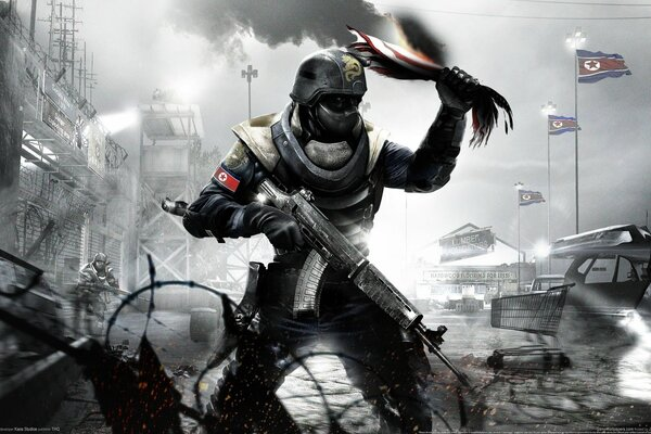 homefront автомат флаг боец gamewallpapers