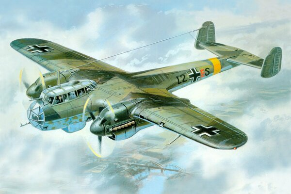 Do-215B-4 german aircraft ww2 war art painting drawing aviation art