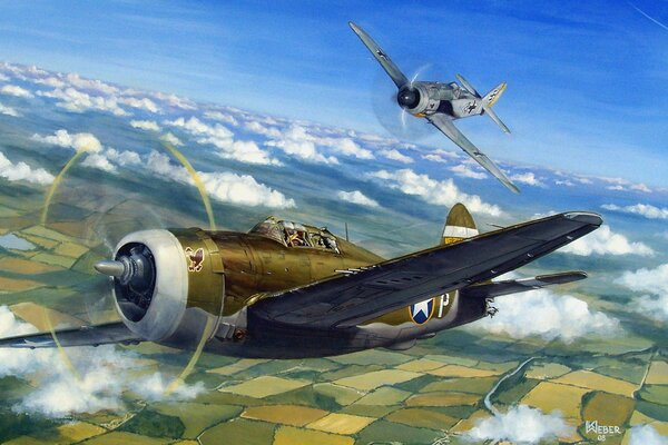 p 47 thunderbolt air combat dogfight ww2 war painting drawing art aviation aircraft airplane