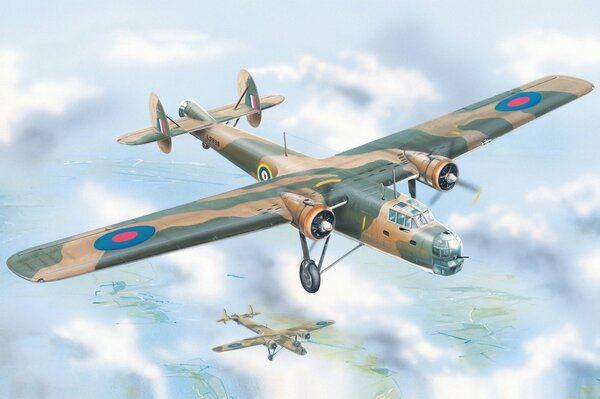 Bristol Bombay Mk.I british bomber ww2 art war painting drawing airplane aircraft aviation art